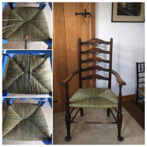 Sarah Booth Rush chair seat repair